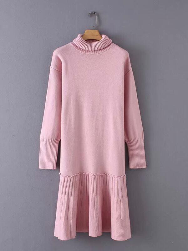 High Neck Ruffle Hem Sweater Dress High Neck Ruffle Hem Sweater Dress