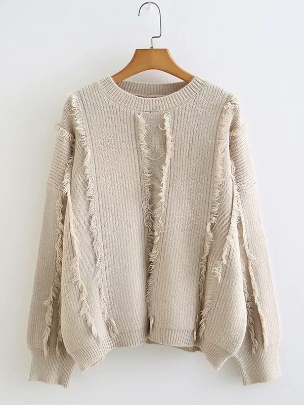 Drop Shoulder Fringe Trim Solid Jumper Drop Shoulder Fringe Trim Solid Jumper