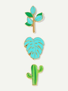 Cactus & Leaf Brooch Set 3pcs