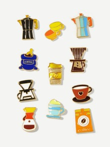 Coffee Cup Design Brooch Set 11pcs