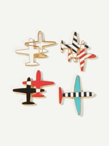 Aircraft Shaped Brooch Set 4pcs