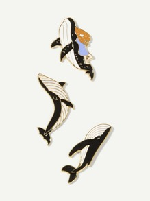 Whale Shaped Brooch Set 3pcs