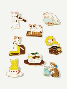 Cat Design Brooch Set 8pcs