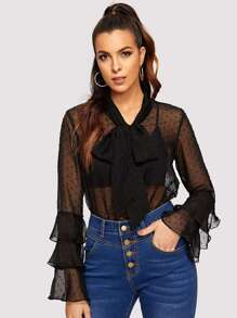 Tiered Ruffle Sleeve Tied Neck Sheer Top