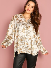 Plus Chain Print High Low Shirt