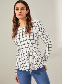 Puff Sleeve Scalloped Hem Plaid Blouse