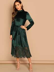 Waist Belted Mock-Neck Velvet Dress
