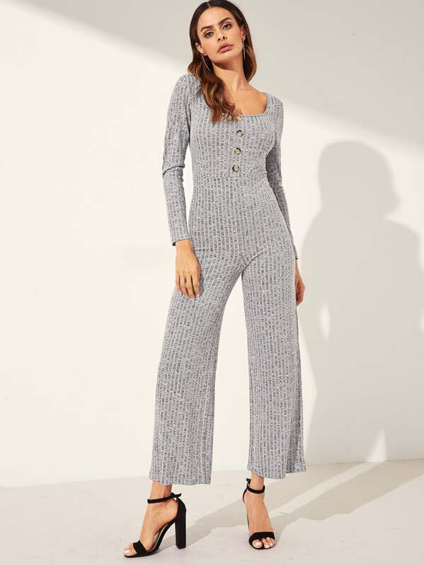 5df5827067f Scoop Neck Button Detail Ribbed Jumpsuit