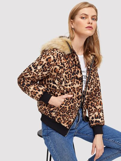 Faux Fur Detail Short Parka Coat