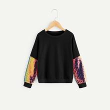 Image of Girls Drop Shoulder Sequin Sleeve Sweatshirt