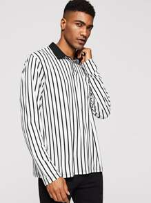 Men Contrast Collar Pocket Patched Striped Polo Shirt