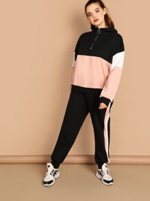 Plus Zip Half Placket Pullover and Sweatpants Set