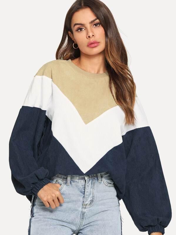Cut And Sew Corduroy Chevron Sweatshirt by Shein