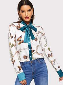 Tie Neck Chain And Butterfly Print Blouse