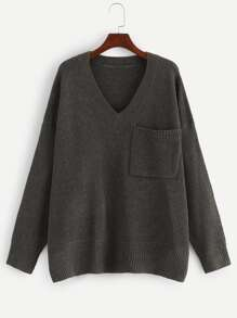 Plus Pocket Patched V Neck Sweater