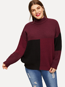 Plus Mock-neck Color-block Sweater