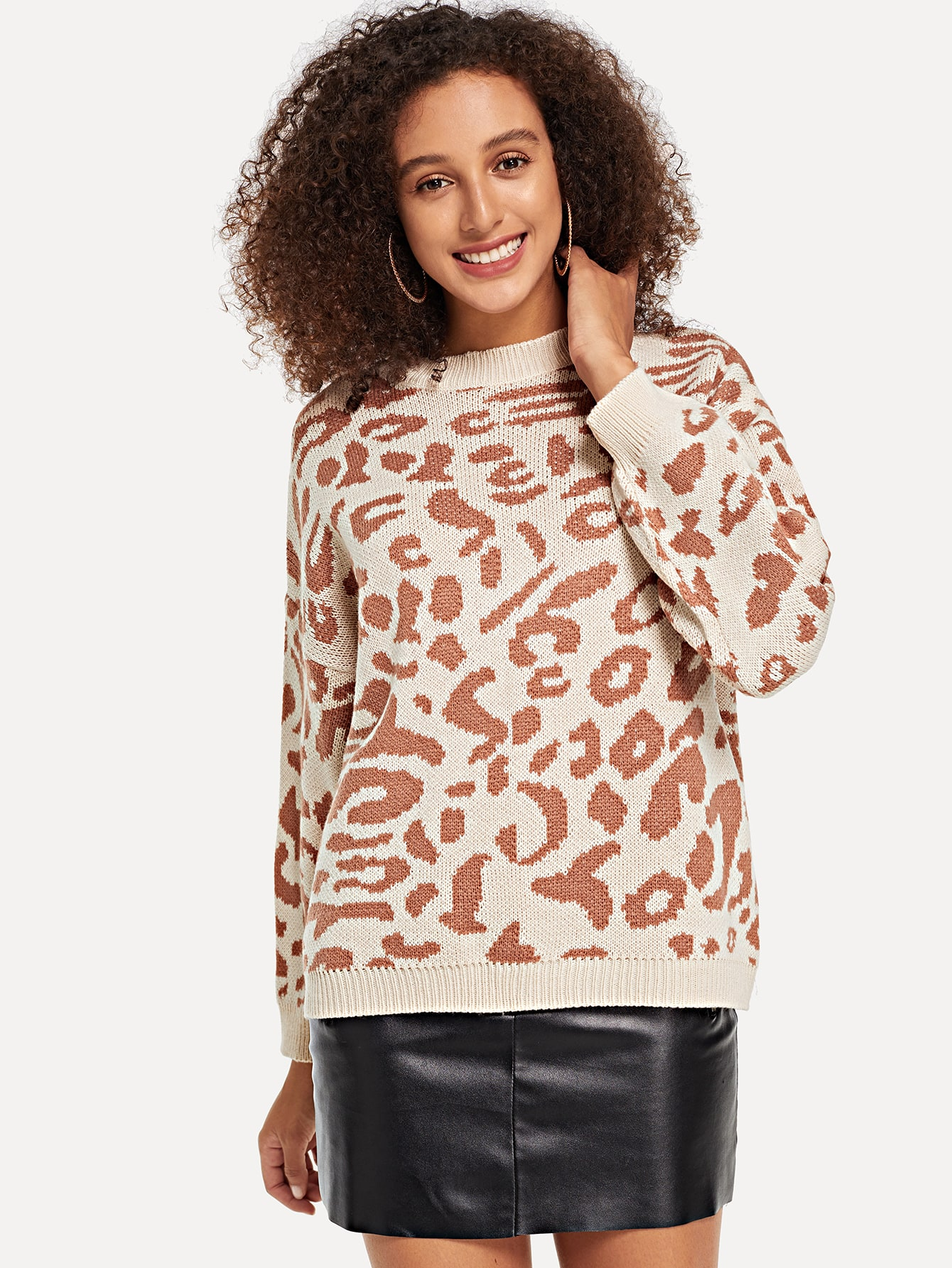 Drop Shoulder Leopard Sweater Drop Shoulder Leopard Sweater