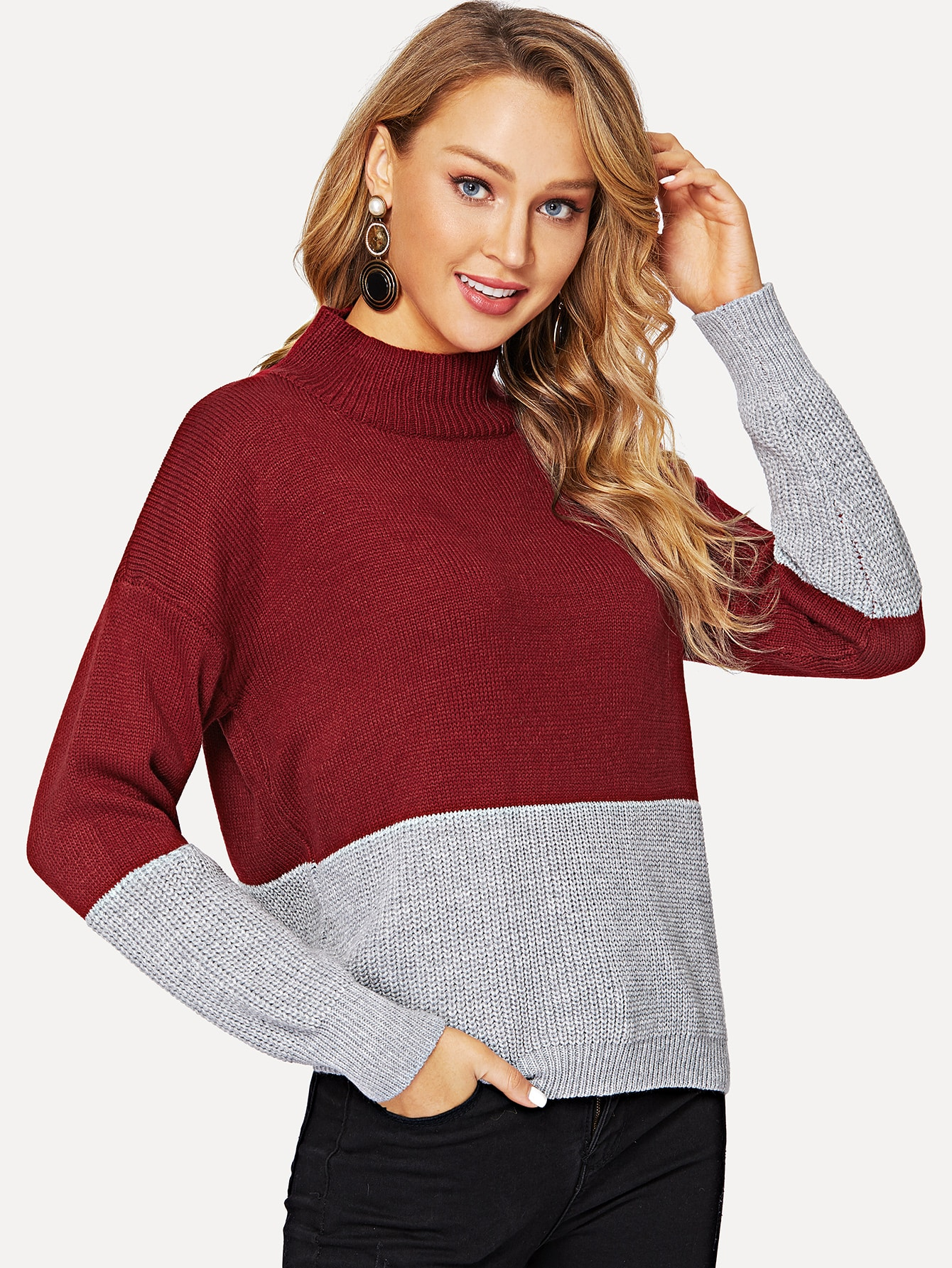 Two-tone Stand Collar Jumper Two-tone Stand Collar Jumper