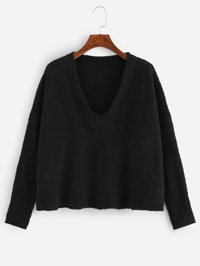 V Neck Solid Fuzzy Sweater