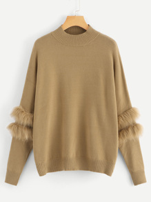 Plus Faux Fur Patch Sleeve Jumper