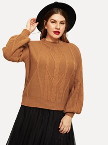 Plus Solid Mixed Knit Jumper
