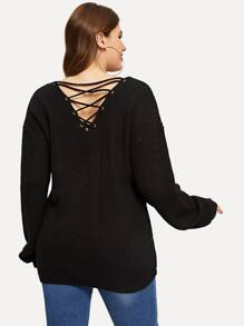 Plus Pocket Patched Grommet Lace-up Back Sweater