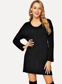 ade24e5b3a5 Off The Shoulder Bishop Sleeve Sweater Dress.  9.95. Solid Knit Dress