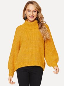 Bishop Sleeve Rolled Neck Sweater
