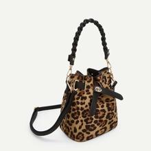 Leopard Pattern Drawstring Satchel Bag