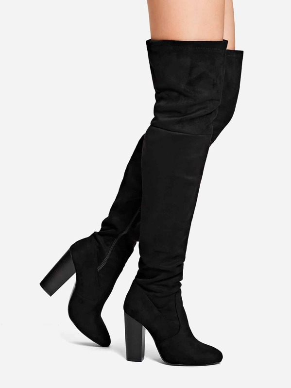 Plain Thigh High Block Heeled Boots by Sheinside