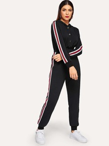 Press Buttoned Elastic Waist Striped Hooded Jumpsuit