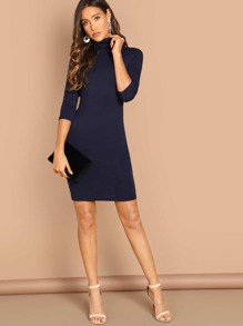 Cowl Neck 3/4 Sleeve Bodycon Dress