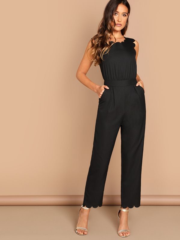 78001debd7 Scallop Edge Solid Jumpsuit