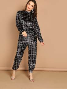 Plus Mock-neck Grid Velvet Top and Pants Set