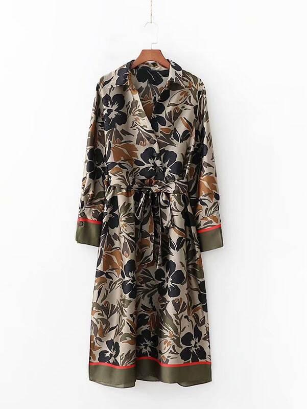 Satin Self Tie Floral Print Shirt Dress Satin Self Tie Floral Print Shirt Dress