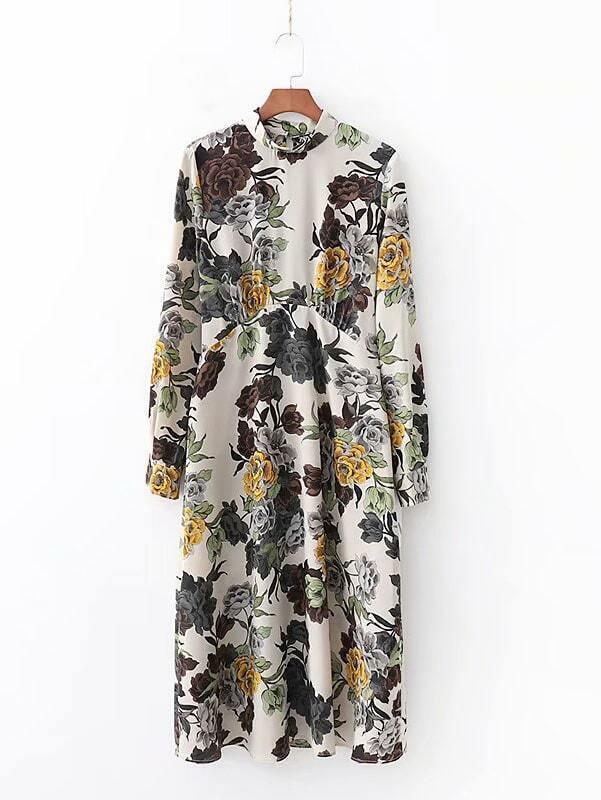 Keyhole Back Mock Neck Floral Print Dress Keyhole Back Mock Neck Floral Print Dress