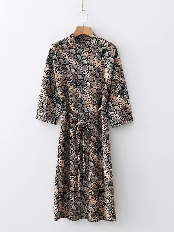 Self Tie Snakeskin Print Dress Self Tie Snakeskin Print Dress