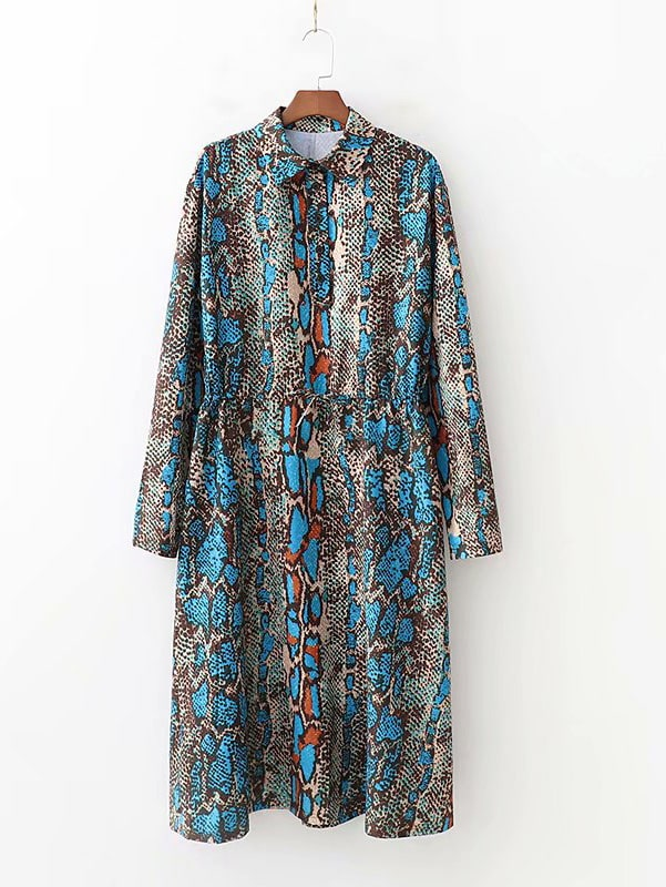 Drawstring Waist Snakeskin Print Shirt Dress Drawstring Waist Snakeskin Print Shirt Dress