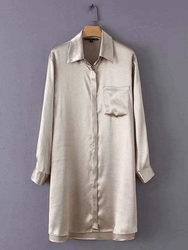 Dip Hem Solid Shirt Dress Dip Hem Solid Shirt Dress