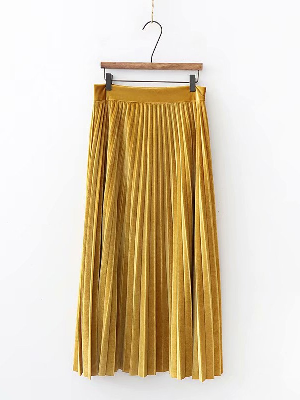 Solid Pleated Velvet Skirt Solid Pleated Velvet Skirt