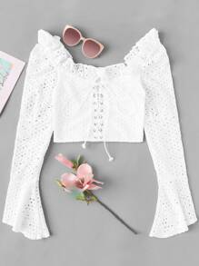 Ruffle Trim Lace-up Crop Flounce Sleeve Blouse