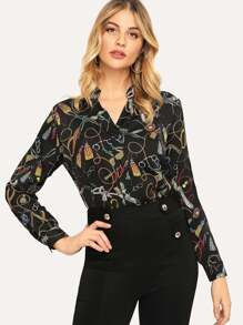 V-neck Chain Print Blouse