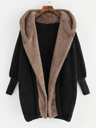 Plus Open Front Hooded Teddy Coat