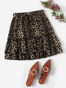Drawstring Waist Layered Leopard Skirt