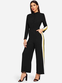 Tape Detail Button Half Placket Wide Leg Jumpsuit