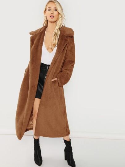 769938f6a7 Open Front Longline Faux Fur Teddy Coat