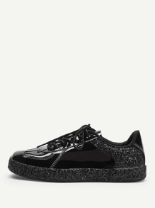 Sequin Detail Lace-up Sneakers