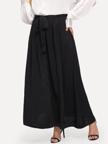 Button Up Belted Maxi Skirt
