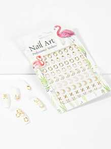 Mixed Shaped Hollow Out Nail Sticker One Sheet