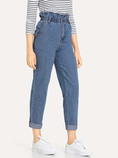 Paper Bag Waist Rolled Hem Mom Jeans
